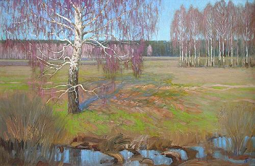 April spring landscape - oil painting
