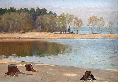 Morning at the Bay spring landscape - oil painting