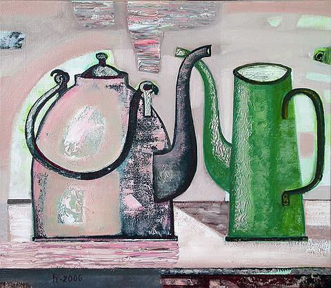 Two Kettles still life - oil painting