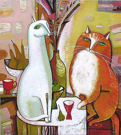 White Cat and Red Cat naive & folk art - oil painting