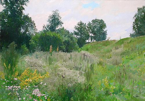 Ravine summer landscape - oil painting