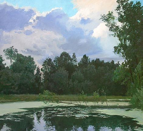 Before a Thunderstorm summer landscape - oil painting