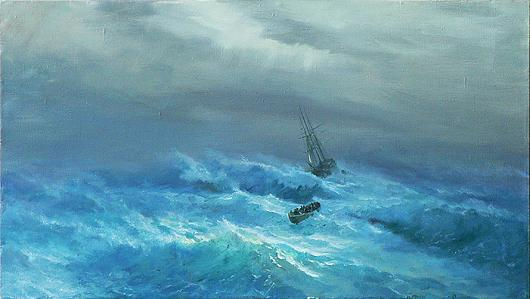 Storm seascape - oil painting
