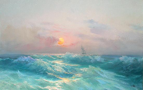 Evening seascape - oil painting