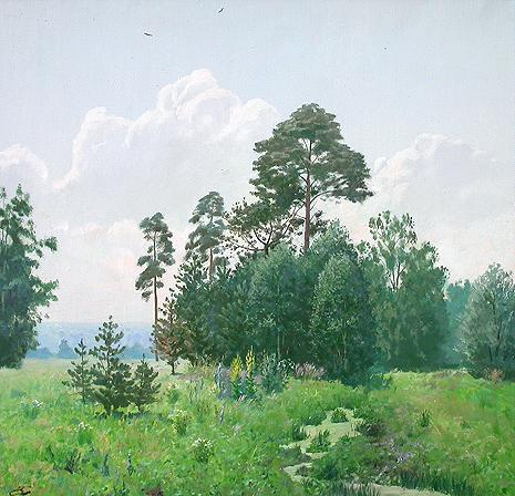 Summer Day summer landscape - oil painting