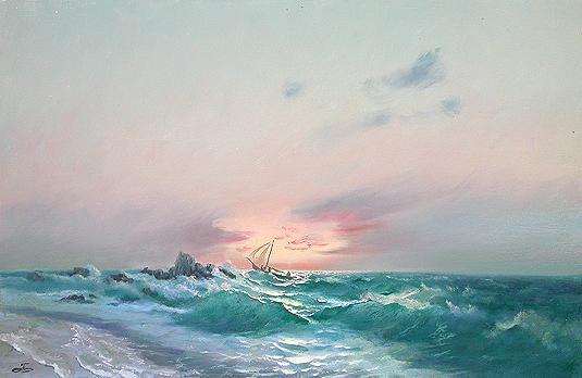 Утро морской пейзаж - масло живопись