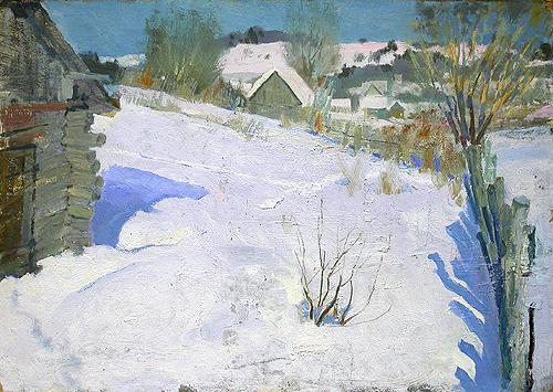 March Snow rural landscape - oil painting