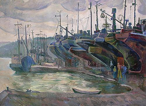 Preparing for Fishing. Kerch seascape - oil painting