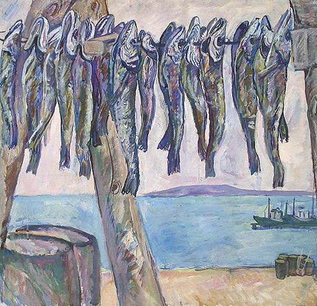 Fish. Kerch seascape - tempera painting