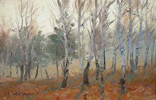 Morning in the Forest autumn landscape - oil painting