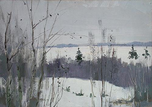 At the Edge of the Forest winter landscape - oil painting