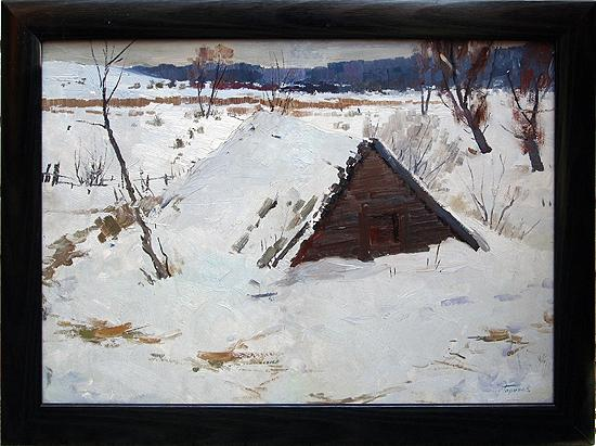 Shed rural landscape - oil painting