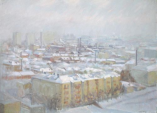 Московские крыши городской пейзаж - масло живопись