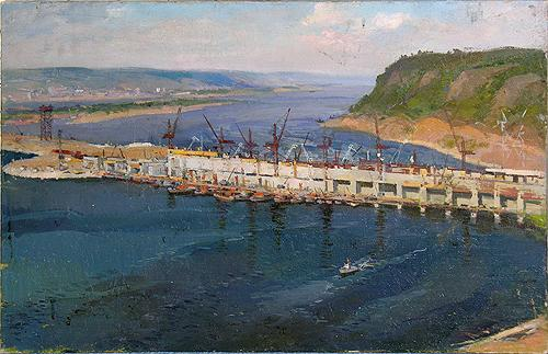 Kuibyshev Hydroelectric Power Plant industrial landscape - oil painting
