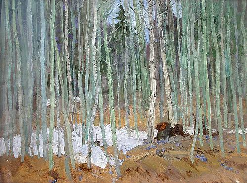 Young Aspens spring landscape - oil painting