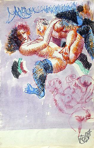 Lovers erotic art - watercolor, ink drawing
