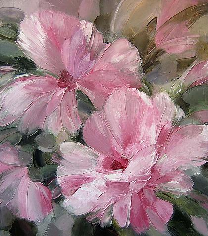 Tender August flower - oil painting