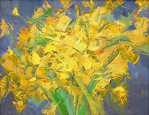 Цветут одуванчики цветы - масло живопись
