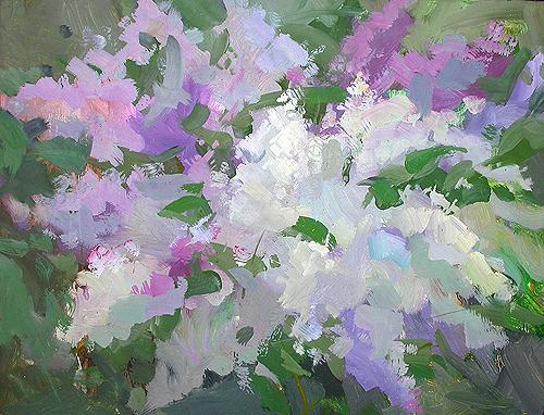Lilac in Blossom flower - oil painting