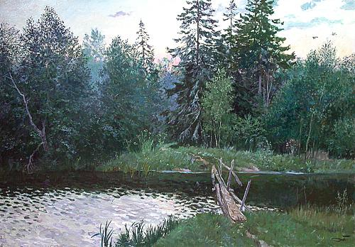 Summer Evening summer landscape - oil painting
