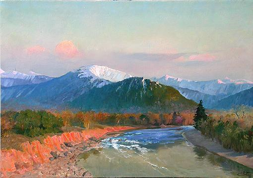 River mountain landscape - oil painting