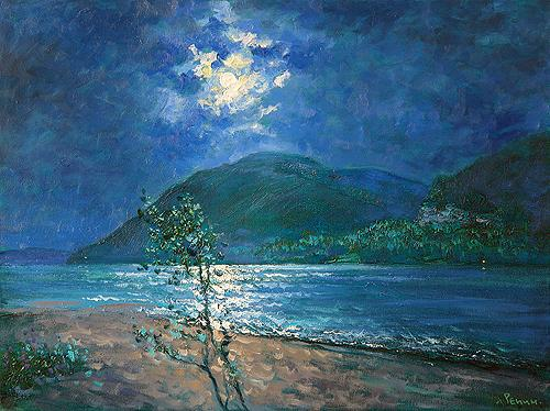 Beginning night landscape - oil painting