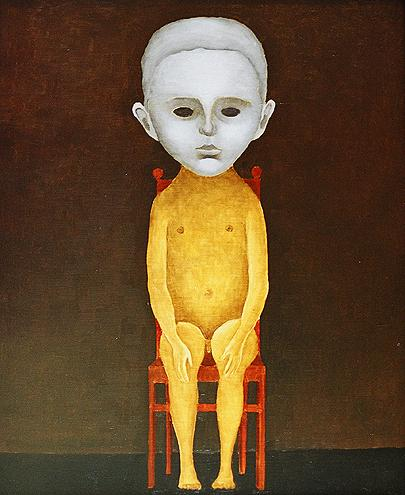 Boy on a Chair surrealist art - oil painting