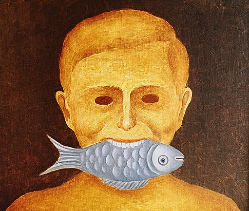 Self Portrait with a Fish surrealist art - oil painting