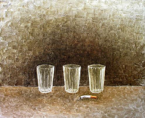 Three Glasses with a Butt still life - oil painting