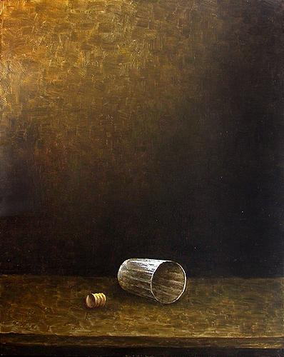 Glass with a Cork still life - oil painting