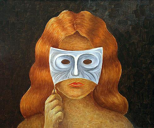 Woman with a Mask surrealist art - oil painting