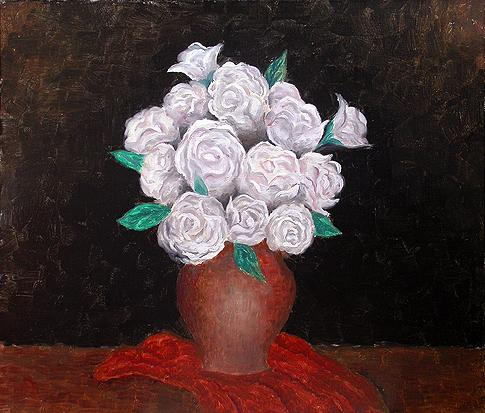 White Roses flower - oil painting