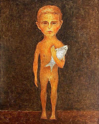 Boy with a Fish surrealist art - oil painting