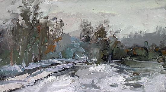 Зима зимний пейзаж - масло живопись