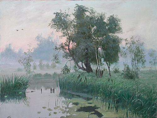 Foggy Morning summer landscape - oil painting