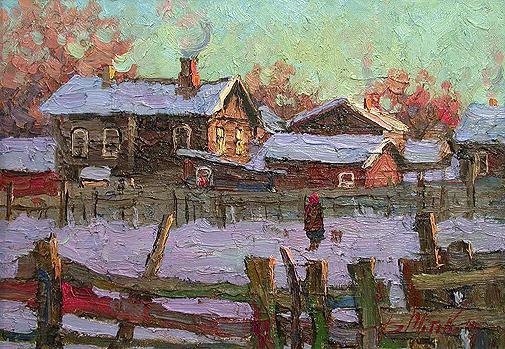 Winter Evening rural landscape - oil painting