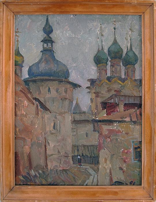 Rostov the Great architecture - oil painting Cremlin church landscape Rostov architecture castle