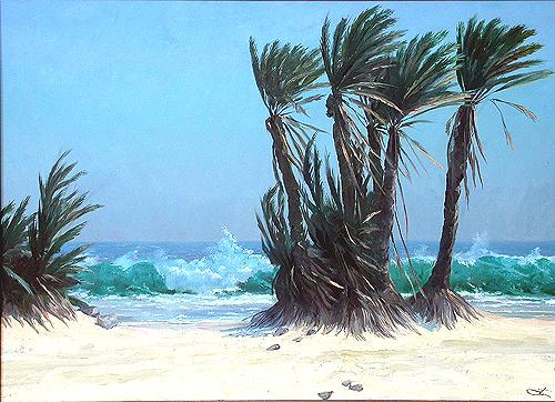 Ocean and Palms seascape - oil painting