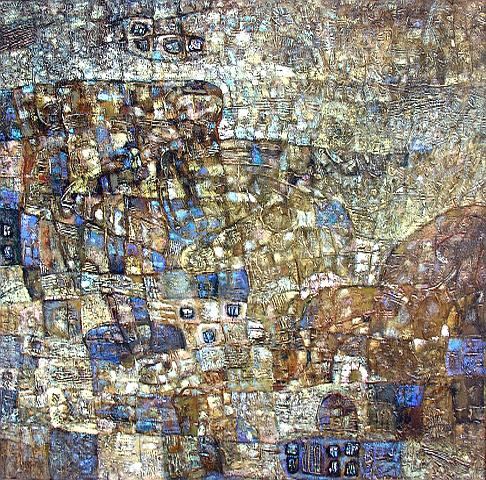 Bronze Hills abstract art - oil painting