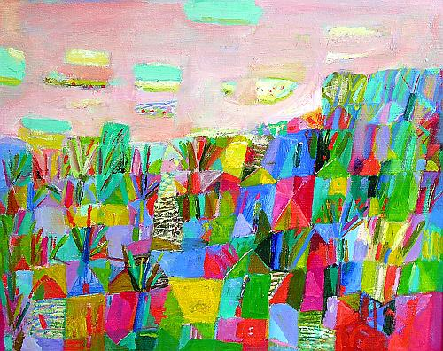 August abstract landscape - oil painting