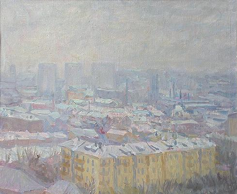 Moscow Roofs. Rain cityscape - oil painting