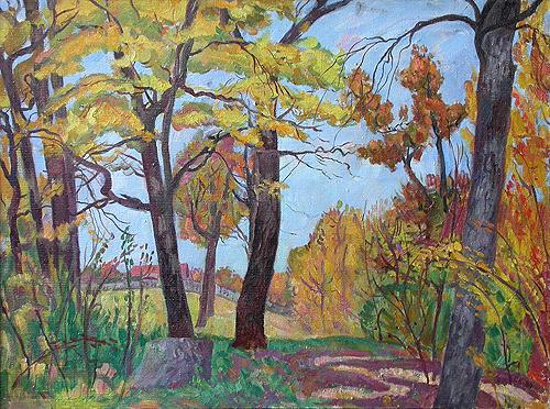 Autumn Grove autumn landscape - oil painting