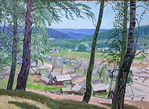 Деревня летний пейзаж - масло живопись