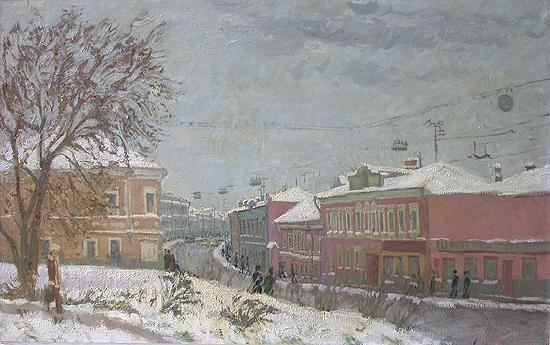 Old Moscow. Tulinskaya Street in Winter cityscape - oil painting