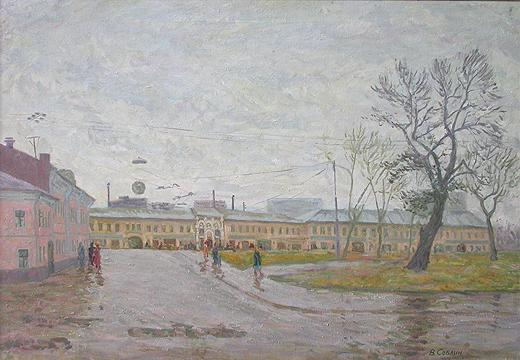 Old Moscow. Tulinskaya Street cityscape - oil painting