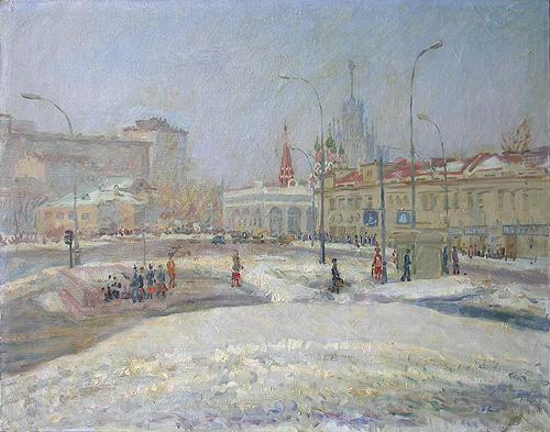 Taganskaya Square. March cityscape - oil painting