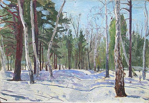 Этюд. Березовый лес зимний пейзаж - масло живопись