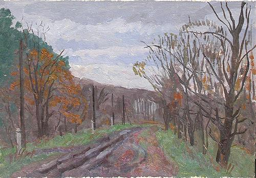 Sketch. Country Road autumn landscape - oil painting