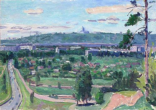 Sketch. View from the Mayskaya Hill cityscape - oil painting