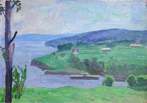 Sketch. The Volga Bank summer landscape - oil painting